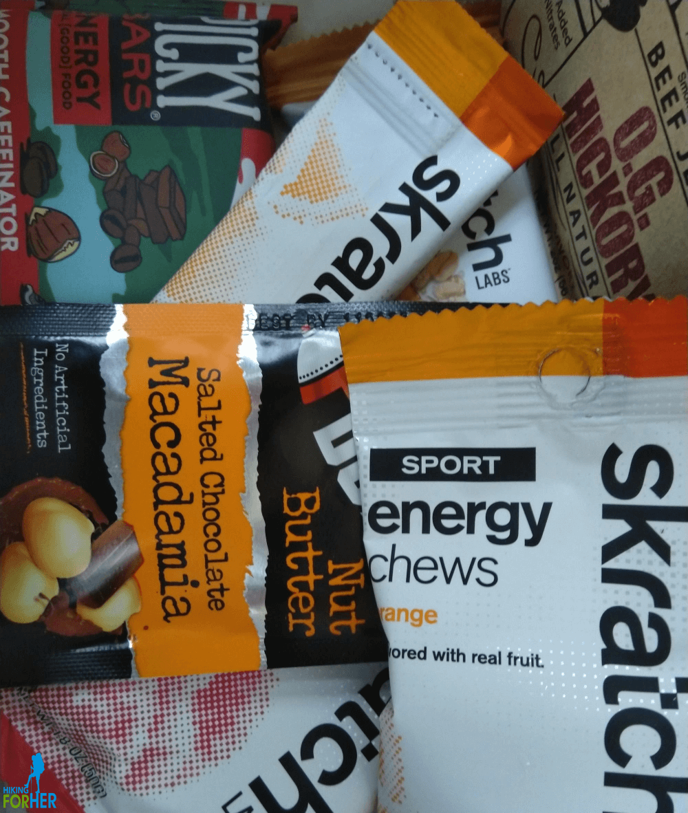 An assortment of hiking snacks