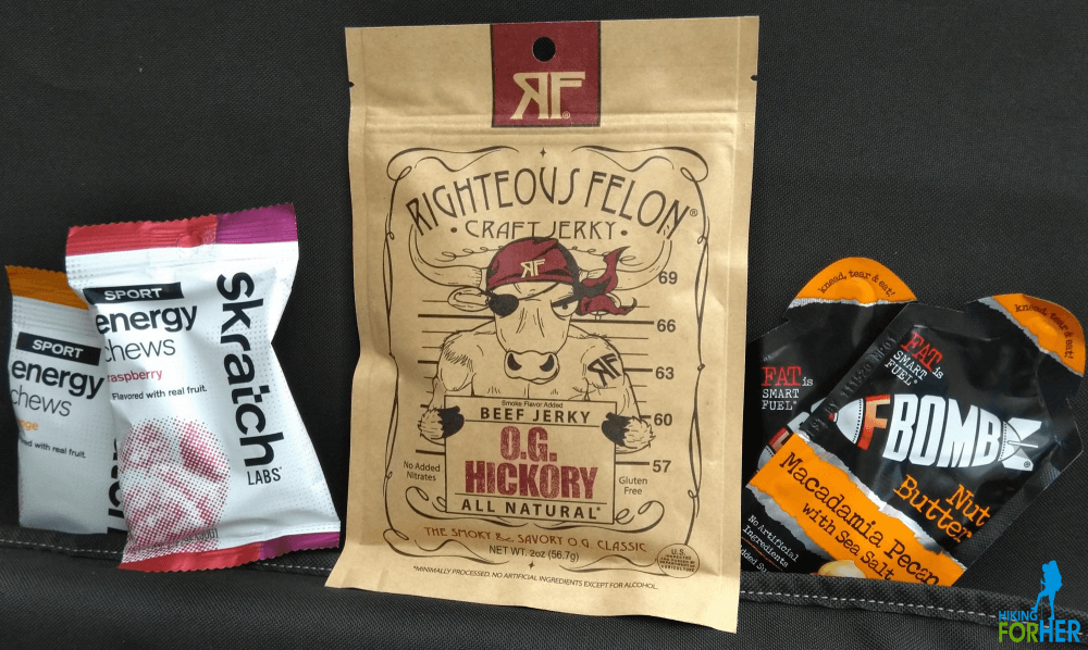 Alpenfuel selection of hiking snacks, including jerky, chews and nut butter