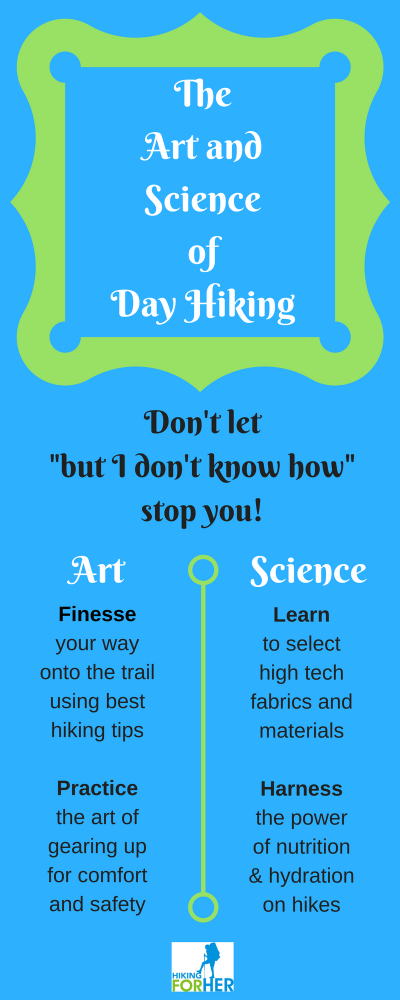 Use the art and science of day hiking tips to get started on your hiking plans, using Hiking For Her trustworthy tips. #hiking #beginnerhiking #hikinggear #hikinginfographic #dayhikes