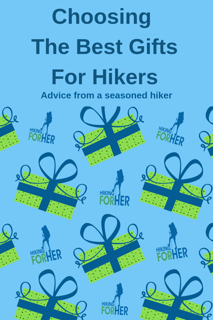 Find great gifts for your hikers with this this guide from Hiking For Her. #gifts #hikinggifts #giftsforhikers #hikingwomengifts #outdoorgifts #findagift #presentsforhikers #giftgivingtips