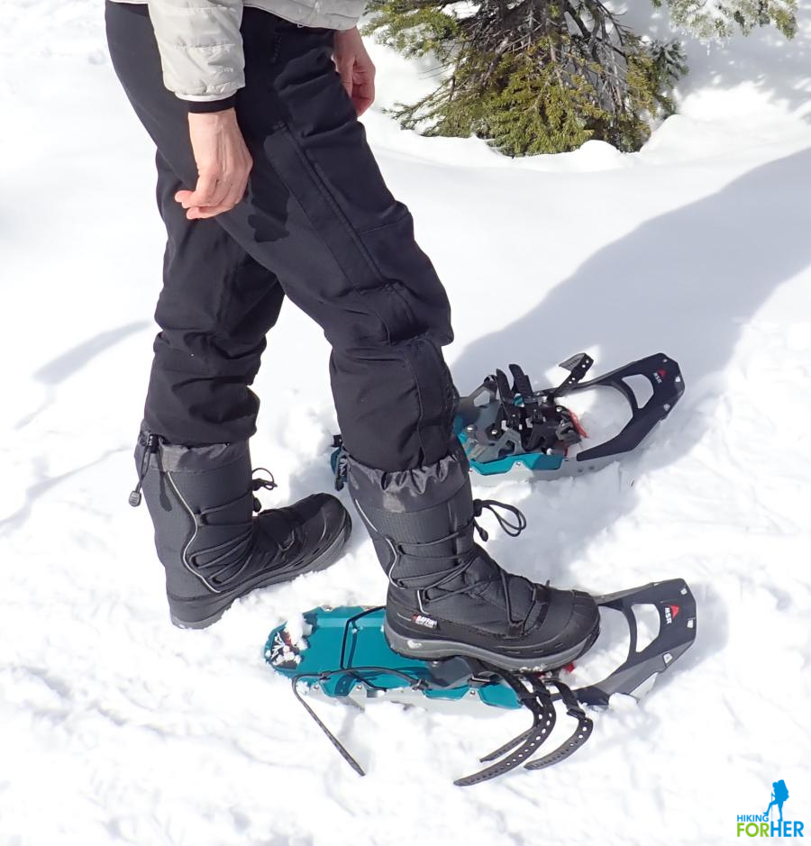 Winter boot on top of snowshoe, no bindings attached yet