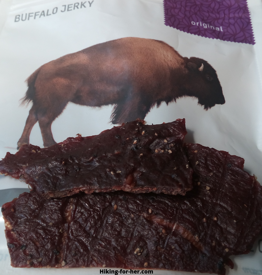 Patagonia Provisions buffalo jerky package and closeup of the jerky