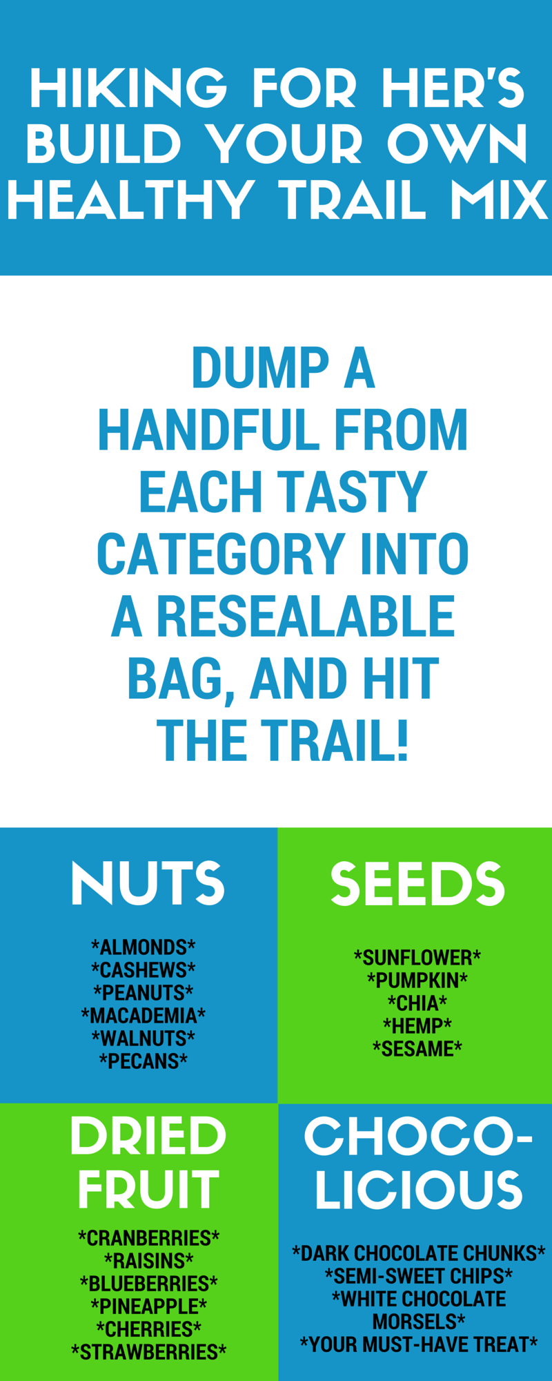 Trail snacks don't have to be boring. Mix up your own personal blend of delicious hiking food! #hikingsnacks #trailfood #snacksforhikers #trailmix #hikinginfographic