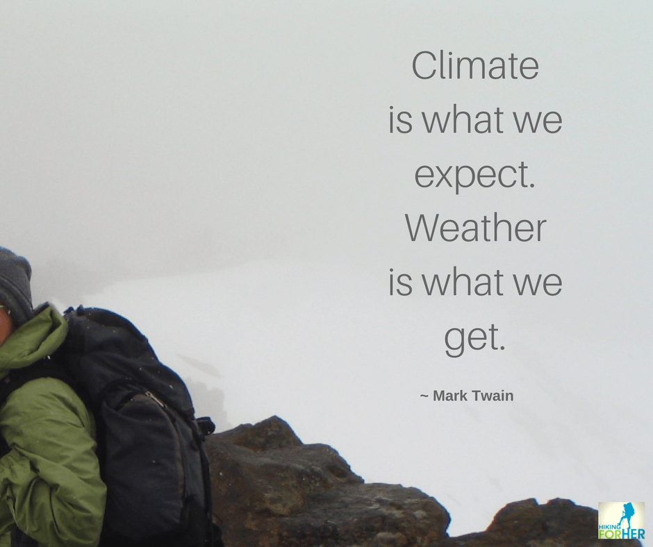 Backpack on hiker's back in whiteout conditions with this quote by Mark Twain: