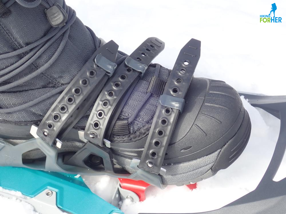 Closeup of snow boot in MSR snowshoe bindings