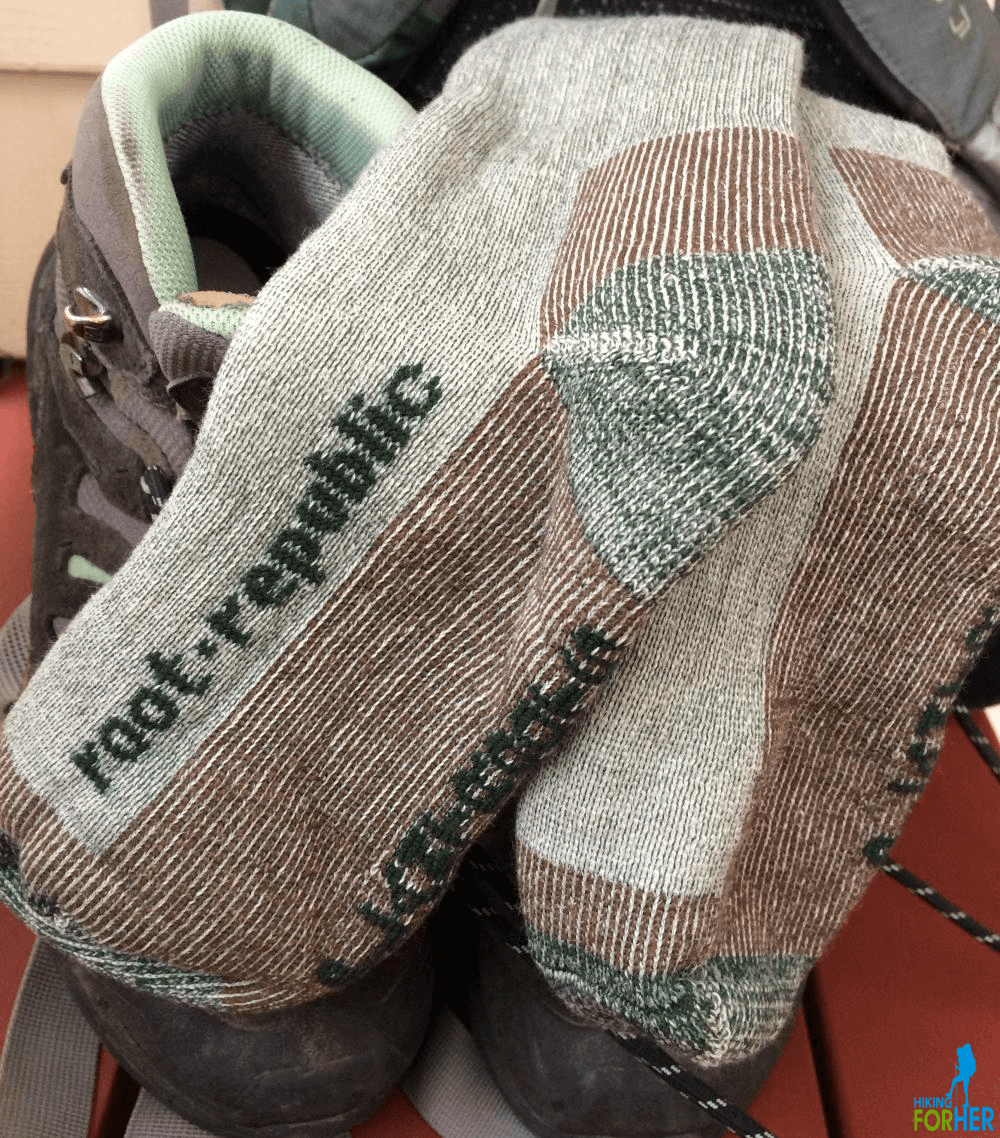 Closeup view of Root Republic hiking socks