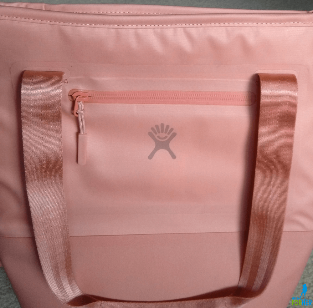 Pink Hydroflask lunch tote closeup of handle and side zipper in Hiking For Her gear review