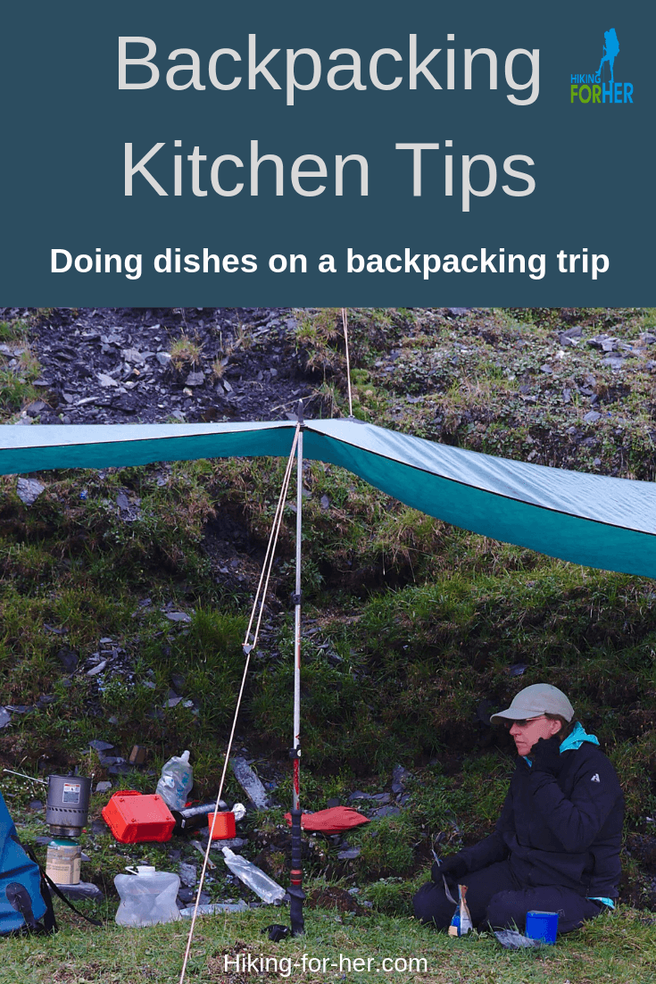 Backpacking trips mean dirty dishes after a meal. Use Hiking For Her tips on how to do dishes and keep a clean kitchen. #backpacking #backpackingdishes #dodishesbackpacking #hiking #backpackingtips