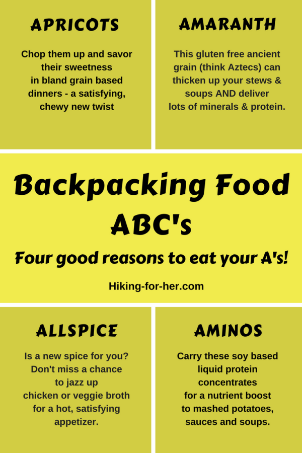 Planning a backpack trip soon? Be sure to eat your A's, with these hiking nutrition tips from Hiking For Her. #hiking #backpacking #backpackfood #trailsnacks