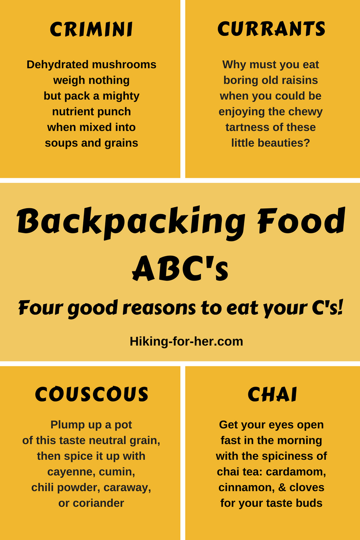 With these four good reasons from Hiking For Her to eat your C's on the trail, your taste buds will be happy on your next backpacking trip.  #hiking #backpacking #trailfood #besthikingtips