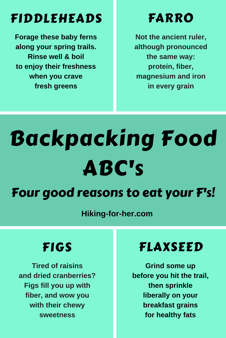 Eating for good health and energy on the trail can be fun, with these Hiking For Her tips. #backpacking #trailfood #hiking #trailmenus
