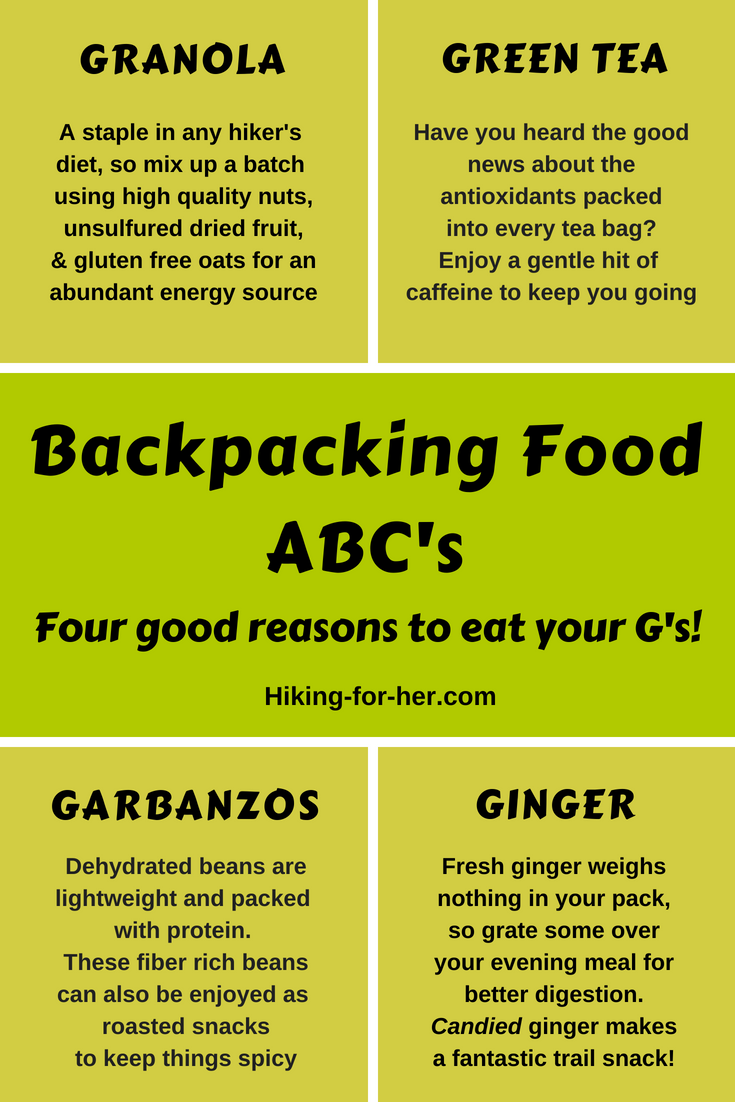 Backpacking food needs a few zingers, like fresh ginger, spicy garbanzos and more. Use Hiking For Her tips for all your hiking plans. #hiking #backpacking #trailfood #hikingsnacks