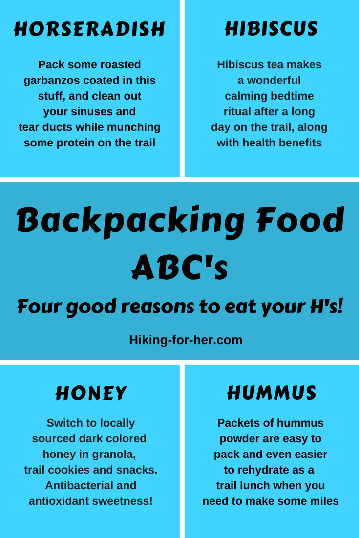 Hurrah for tasty and nutritious hiking food! Make room for hummus, horseradish, hibiscus tea and honey for flavor and nutrition on the trail. #backpacking #hiking #backpackingfood #trailsnacks
