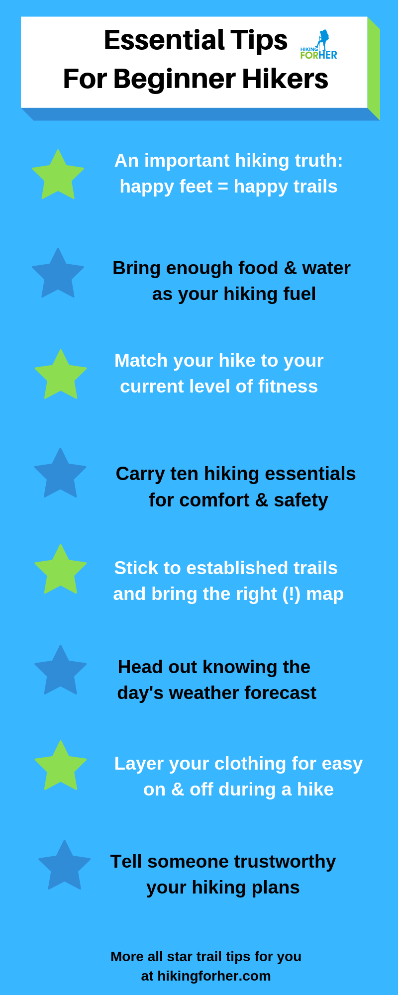 Beginner hiking essential tips for comfort and safety infographic from Hiking For Her #beginnerhiker #hikingessentials #hiking #femalehikers #newbiehiker #hikinginfographic #womenhikers
