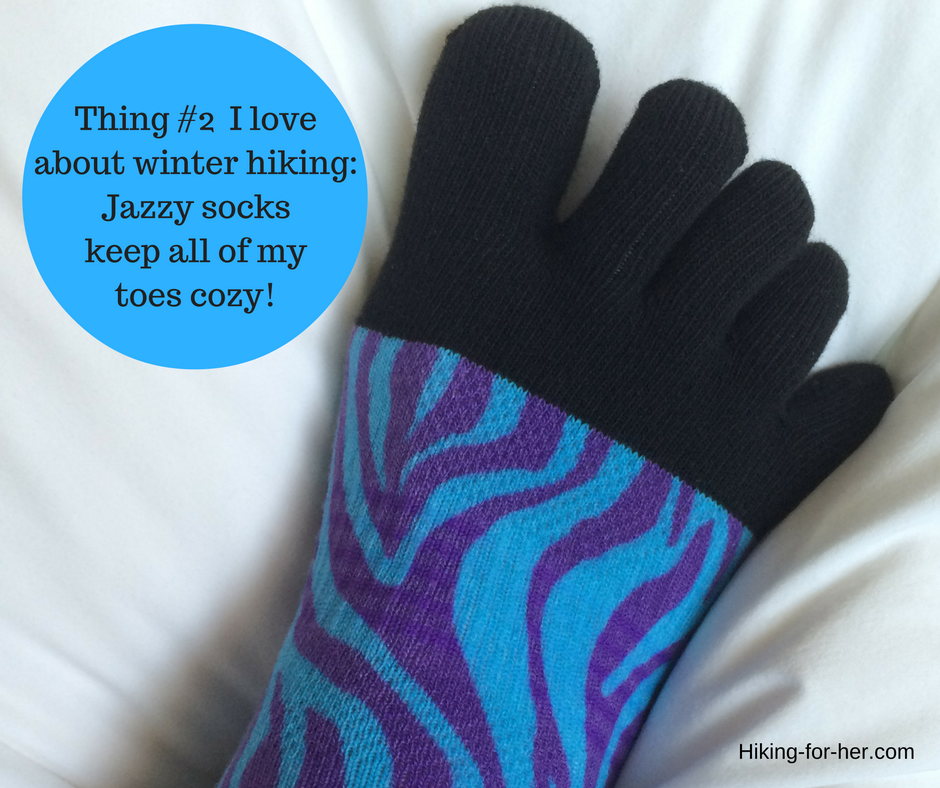 Winter hiking means wearing fun toe socks! It's just one reason for taking a winter hike.