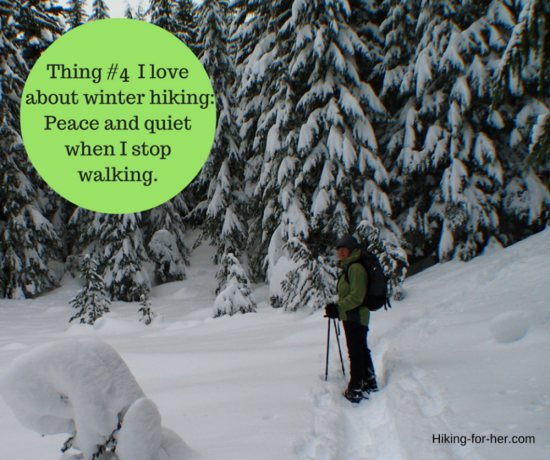 Winter hiking gives you peace and quiet. Lots more reasons to hike a winter trail!
