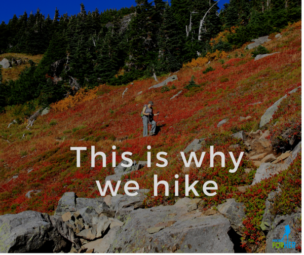 Female hiker descending a hiking trail surrounded by red, orange and yellow autumn foliage