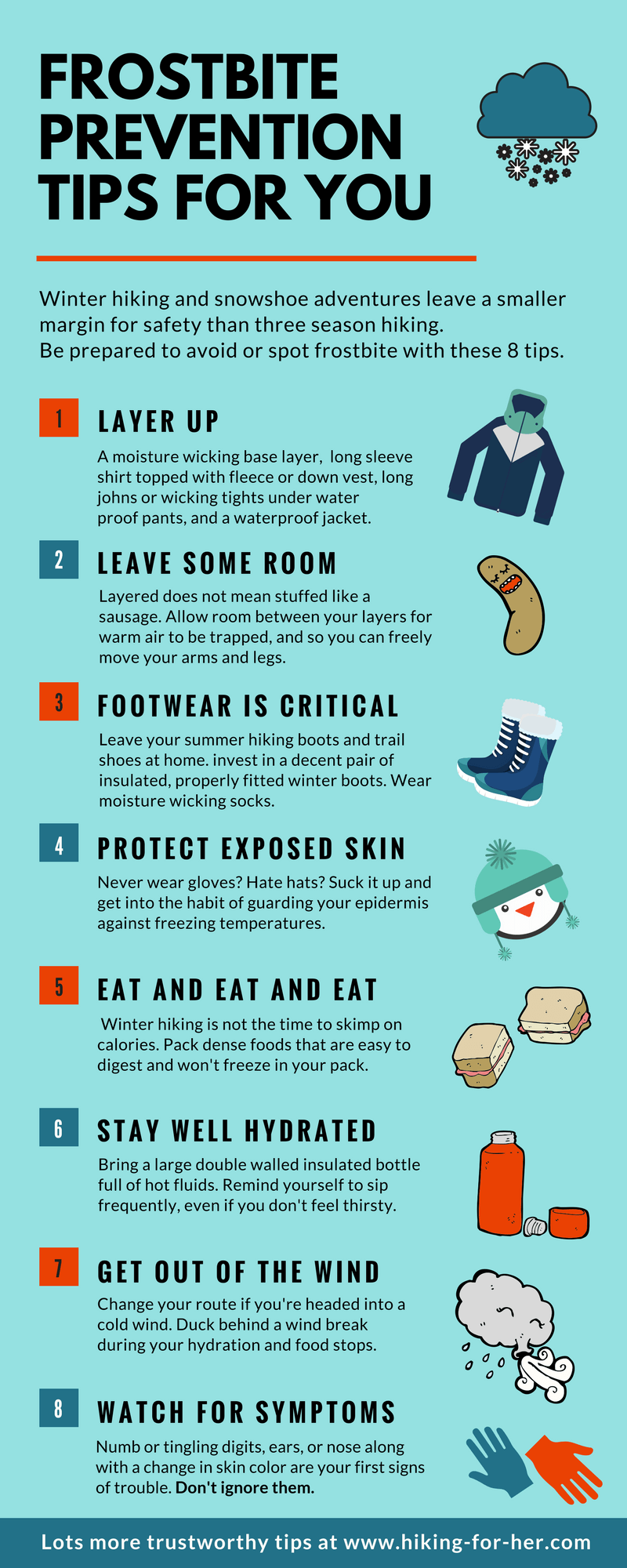 Frostbite prevention tips for hikers in Hiking For Her's infographic #frostbite #preventfrostbite #hikinginfographic #outdoorsafety #coldweatherhiking #hikingtips #backpackingtips