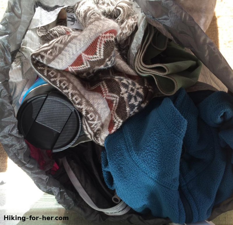 Hiking clothing in a pile