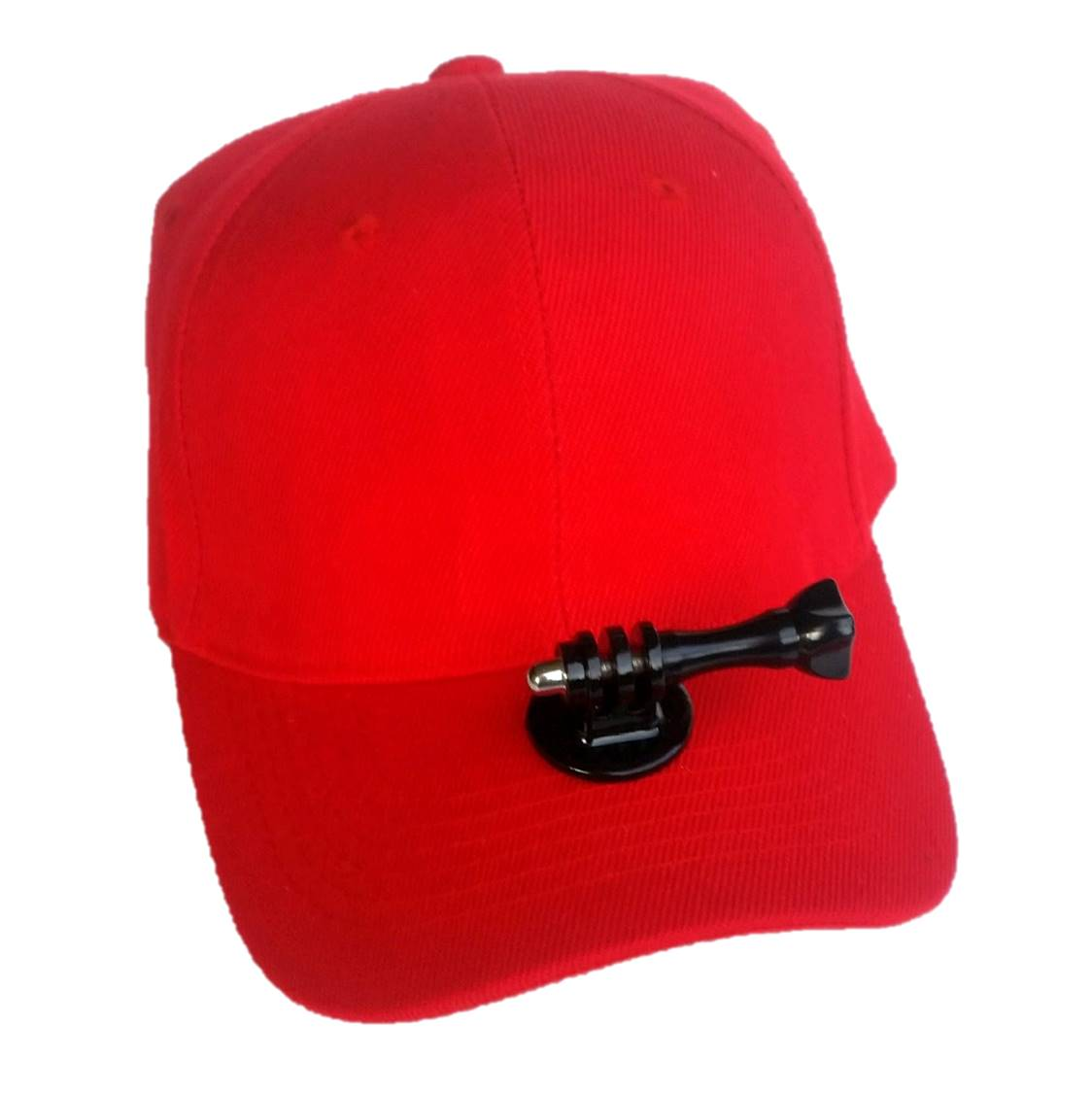Red hiking hat with permanent action camera mount