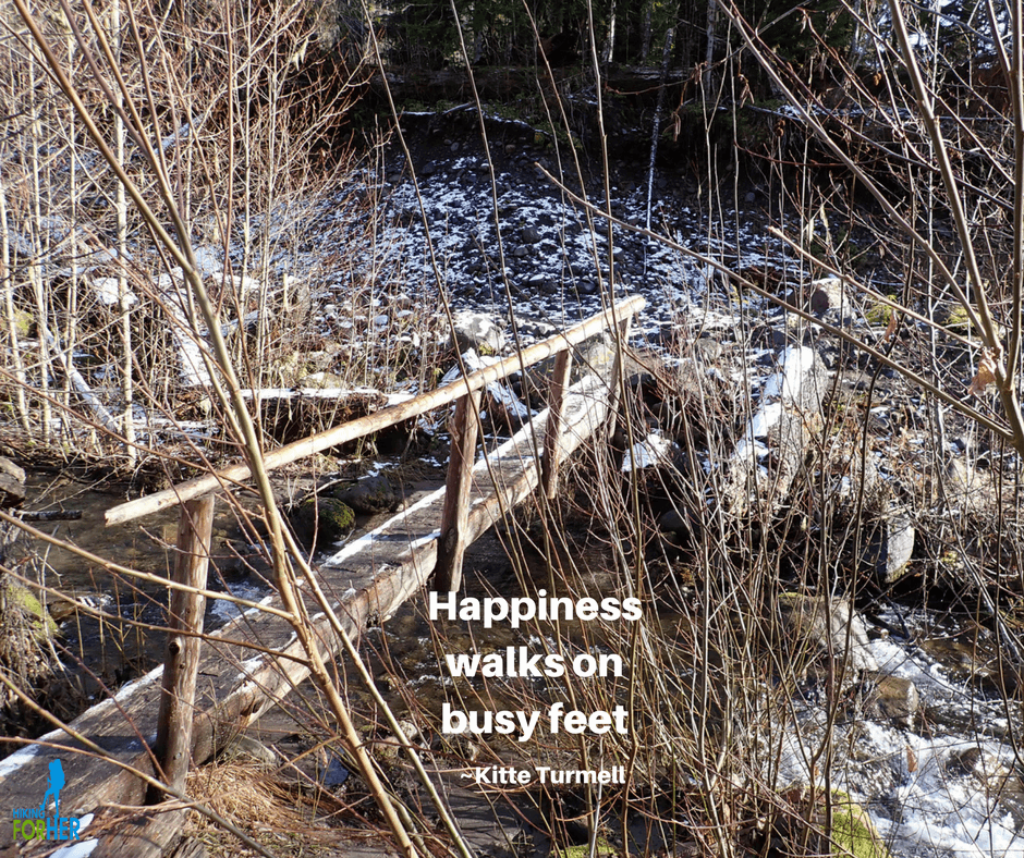 Rustic wooden bridge over hiking trail with quote: Happiness walks on busy feet