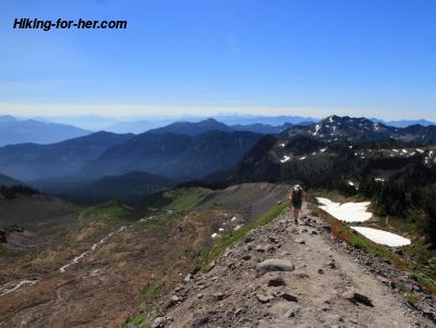 Female hiker on alpine trail