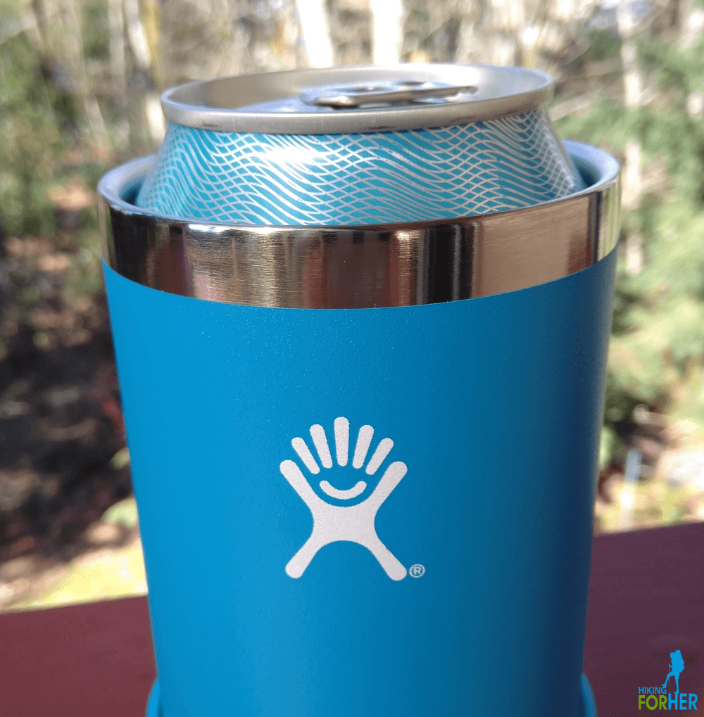 Blue Hydroflask Cooler Cup on a picnic table