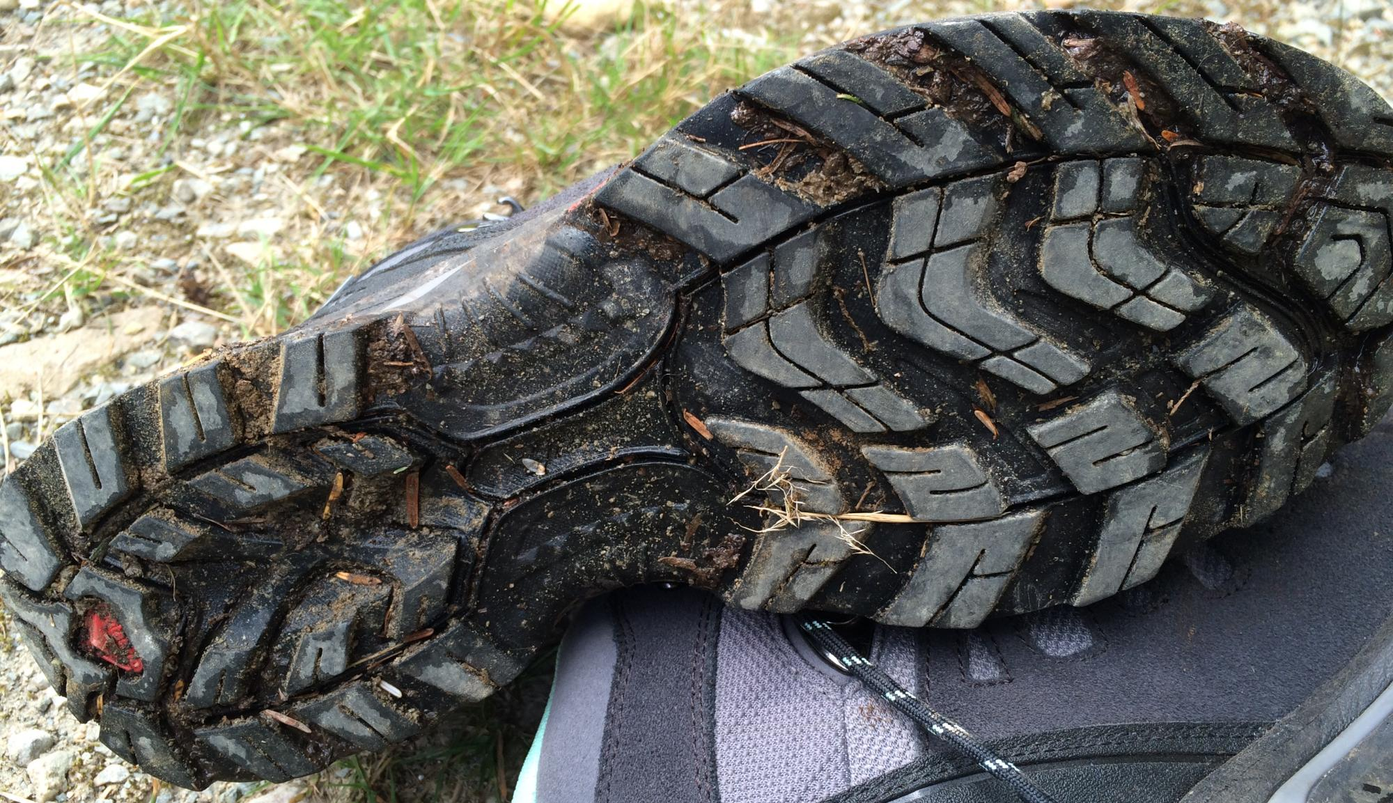 Bottom of a hiking boot, showing tread