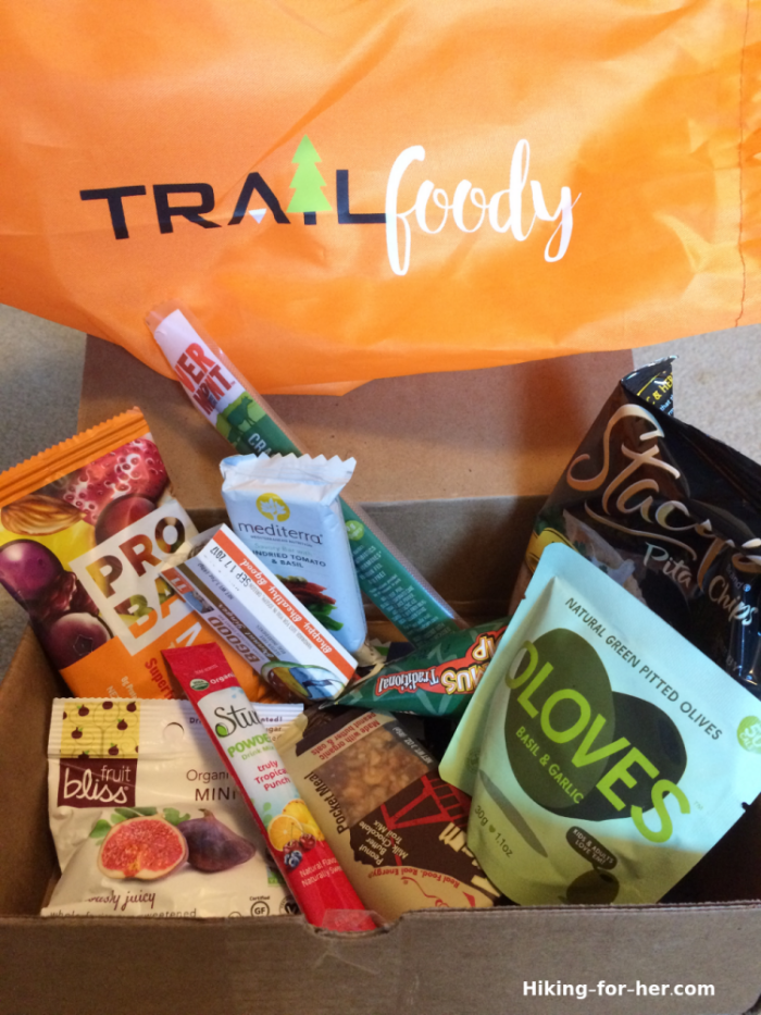 Box of trail snacks from Trailfoody