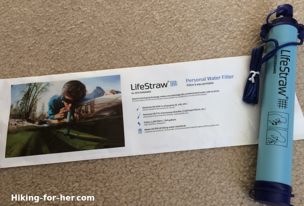 Lifestraw water filter with packaging information