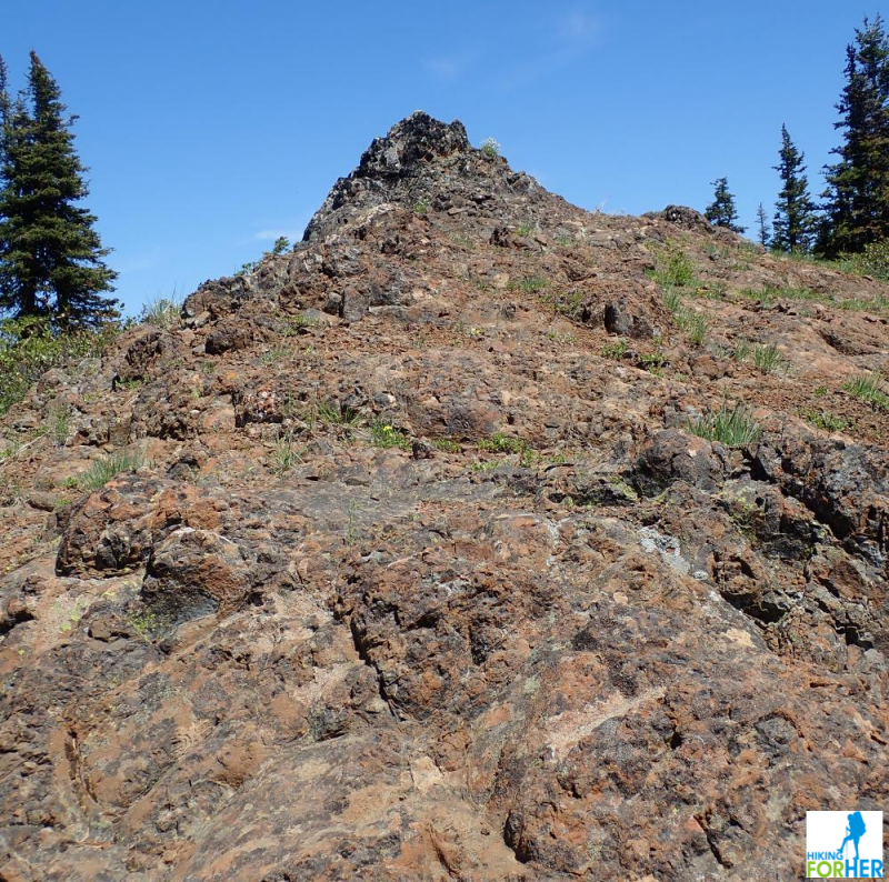 Looking upwards at a rocky alpine hill