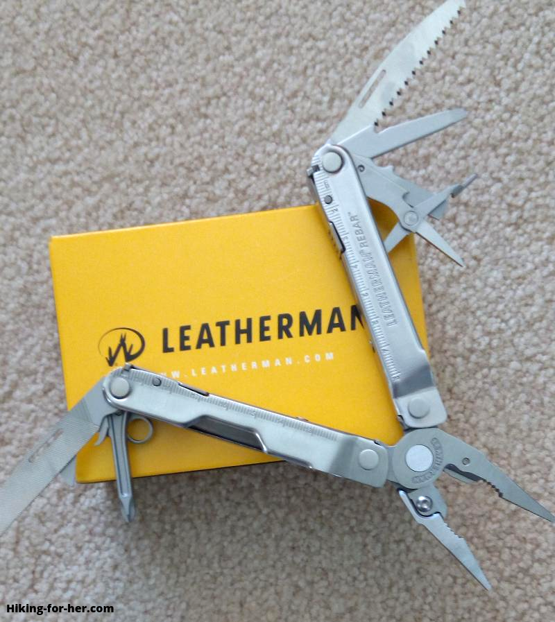 Open Leatherman multitool on yellow box