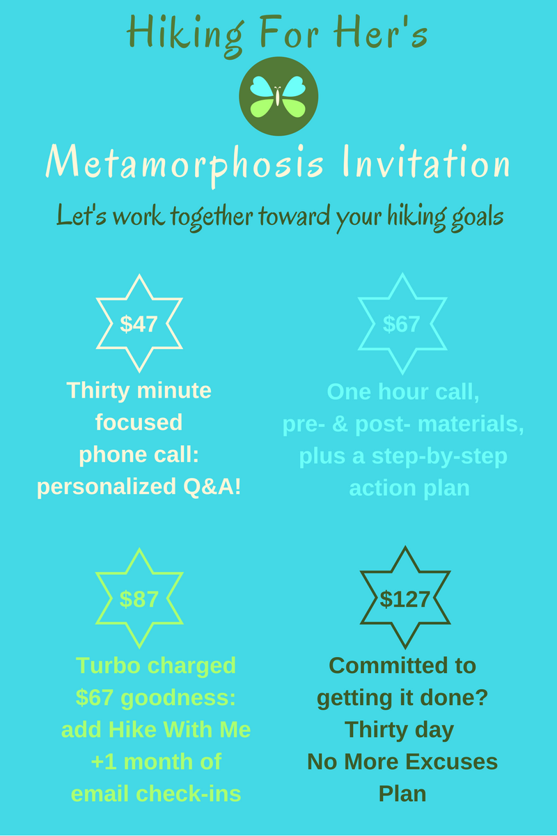 Hiking For Her's Metamorphosis 4 option plan to get you ready for your hiking goals.