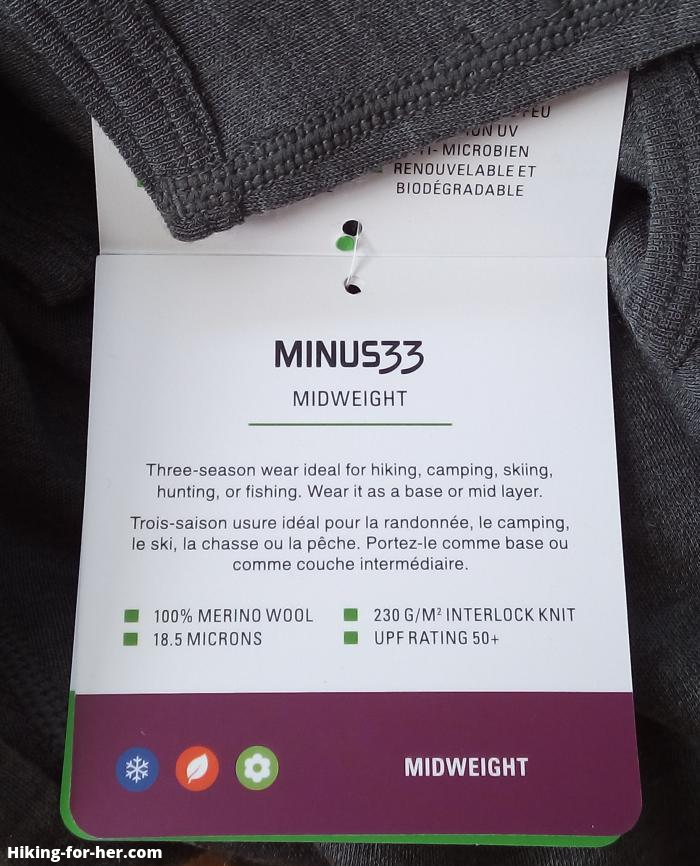 Minus 33 midweight base layer with tag
