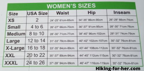 women's sizing chart for hiking clothing