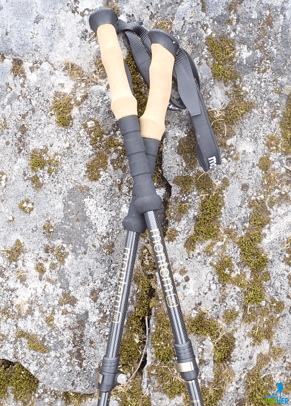 Montem trekking poles with cork grips and black hand straps