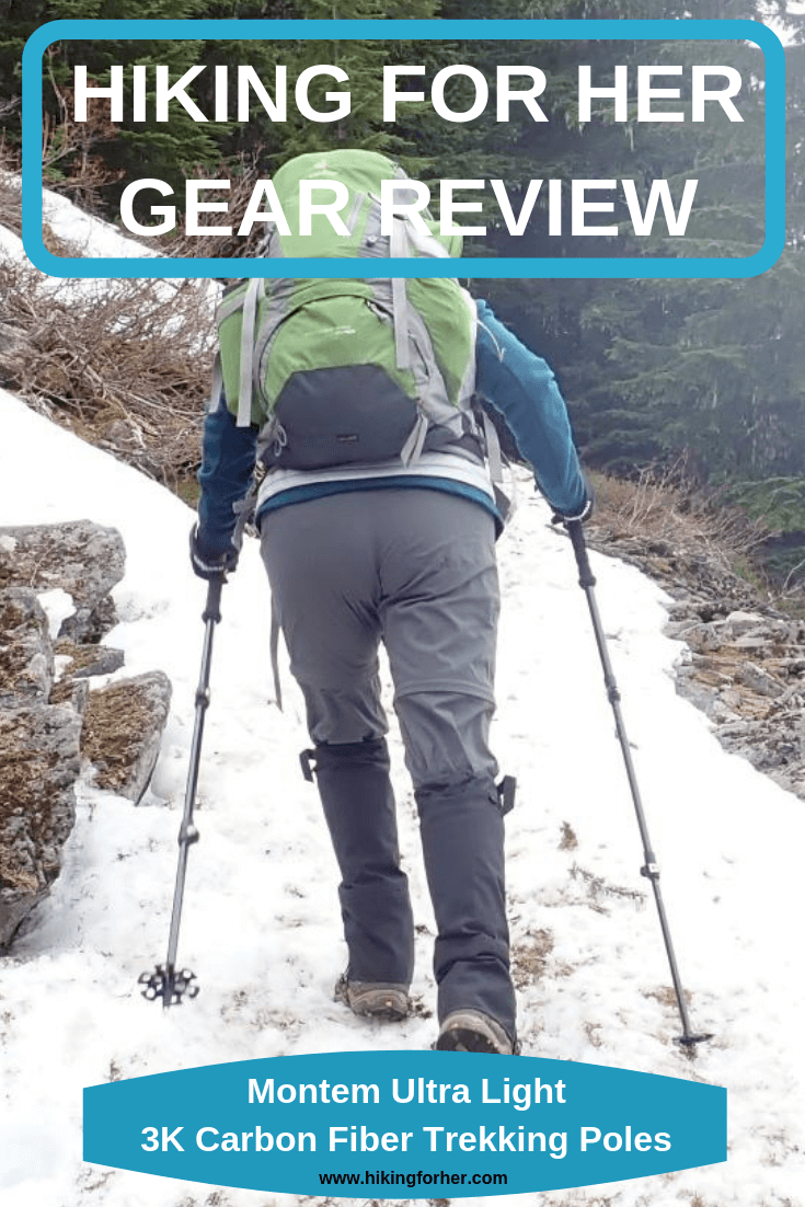Carbon fiber trekking poles are lightweight and rock solid, as Hiking For Her found out in this review. #trekkingpoles #hikingpoles #Montempoles #carbonfiberpoles #hiking #backpacking