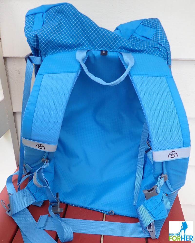 My Trail Co 35L women's hiking day pack in bright blue