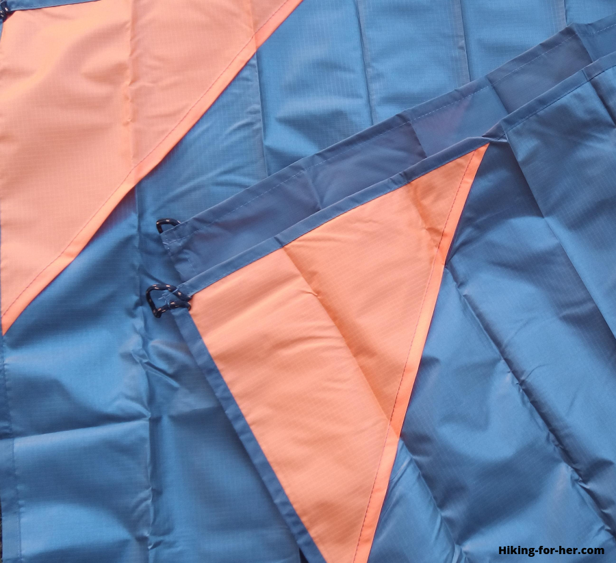 Orange and blue waterproof tarp