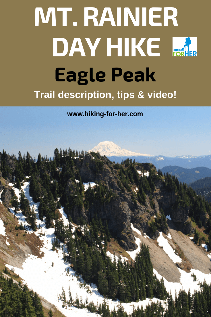 Trail description, photos and video of Mount Rainier's Eagle Peak day hike at Hiking For Her. #bestdayhikes #hike #dayhiking #MountRainier #Rainierhiking #hikingforher