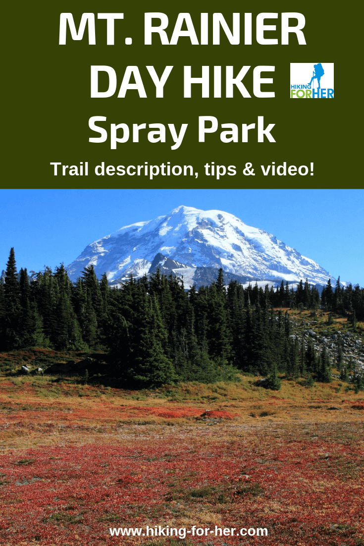 Spray Park at Mount Rainier National Park: a gorgeous hike, with trail description, video and photos at Hiking For Her. #mountrainierhiking #dayhikes #sprayparkrainier #hikingforher