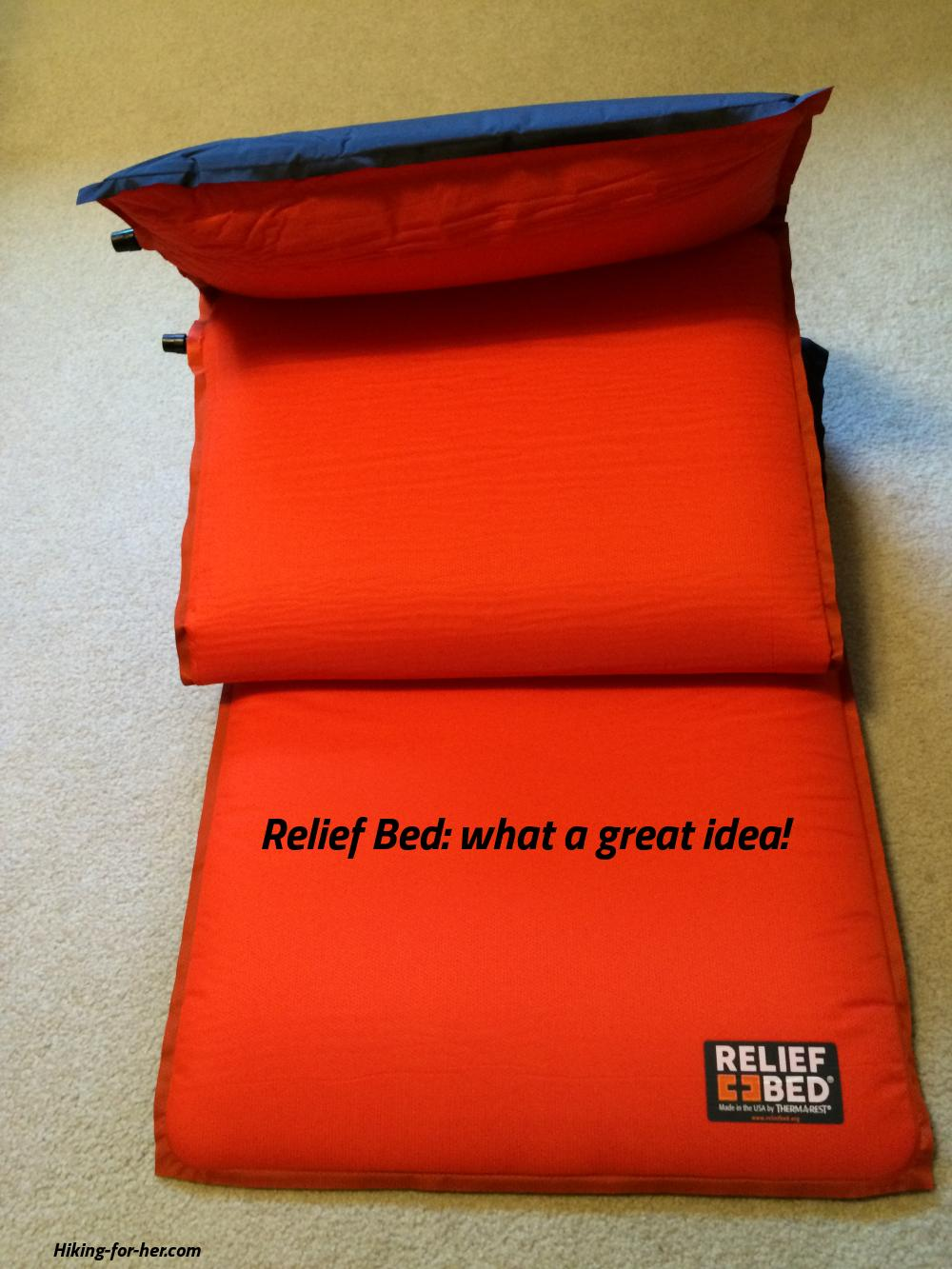 A bright orange Thermarest Relief Bed - what a great idea.