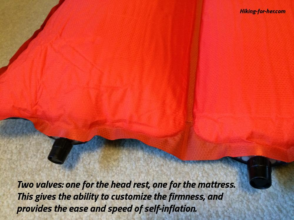 The Thermarest Relief Bed has 2 valves for inflation.