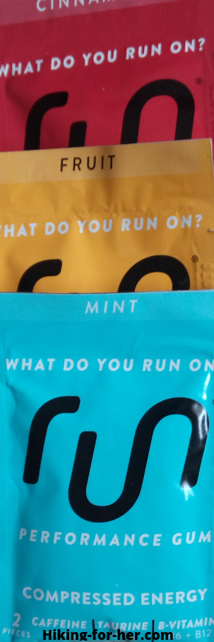 Red, yellow and blue packets of performance gum