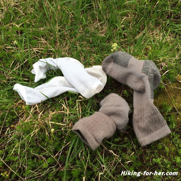 Two pairs of hiking socks, a thin liner and thicker outer pair