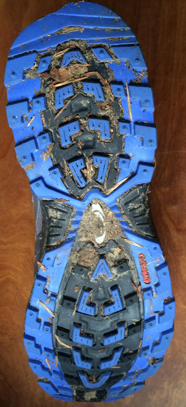 Sole of a hiking shoe, with tread filled with mud and trail debris