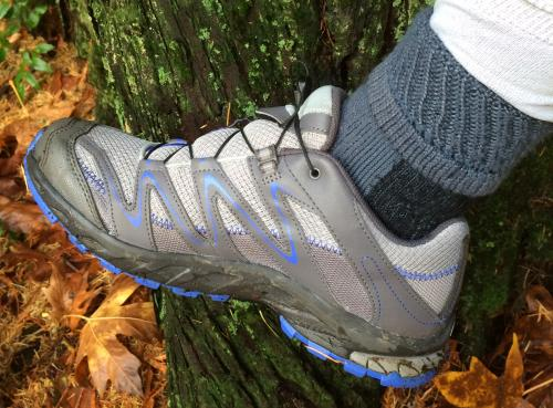 Hiking sock in a trail shoe leaning against a tree trunk with golden autumn leaves beneath
