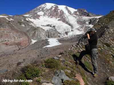Female hiker and Mt. Rainier