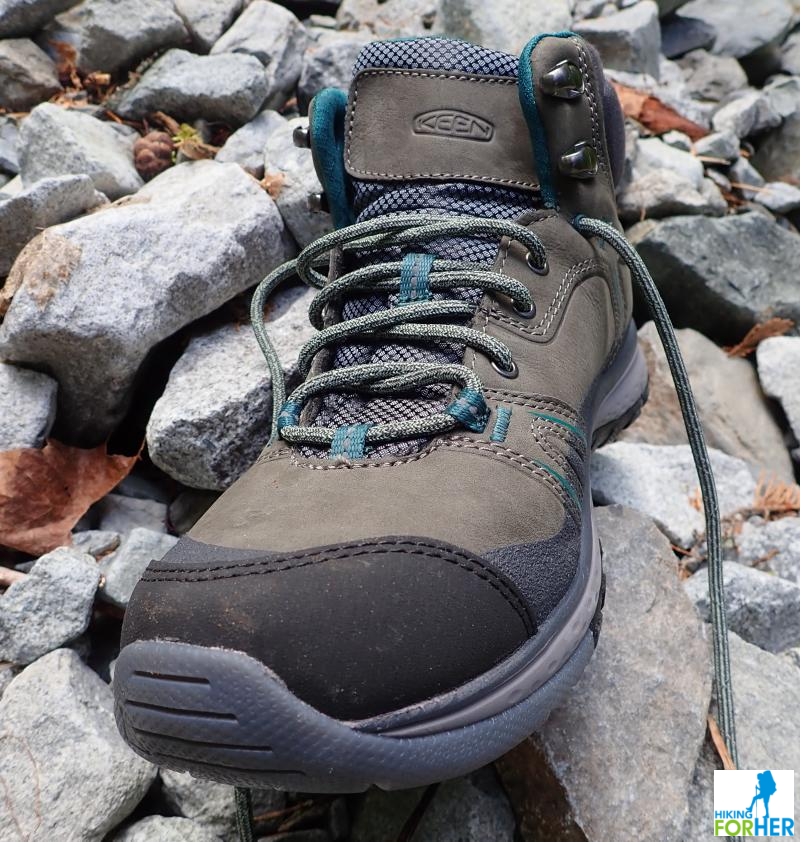 Closeup of Keen Terradora hiking trail shoe toe box with gray rocks in background