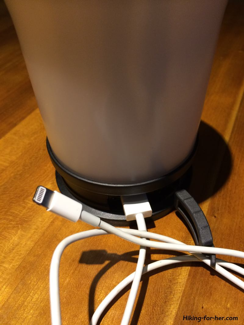 USB port on rechargeable camping lantern